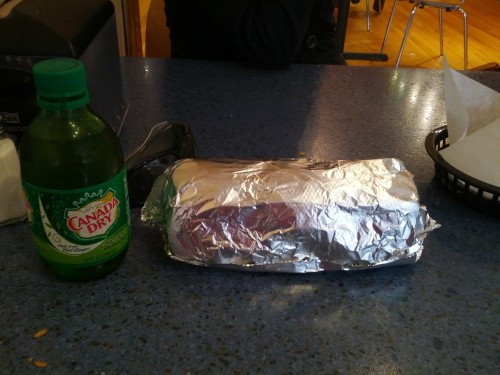 Burrito and ginger ale